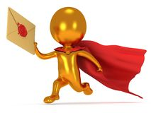 Brave superhero mailman with envelope. Brave gold superhero mailman with red cloak runs to quickly deliver letter envelpe with red wax seal.  on white 3d render Royalty Free Stock Images