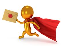Brave superhero mailman with envelope. Brave gold superhero mailman with red cloak runs to quickly deliver letter envelpe with red wax seal.  on white 3d render Stock Image