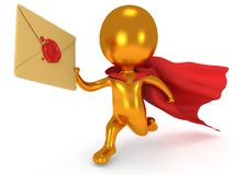 Brave superhero mailman with envelope. Brave gold superhero mailman with red cloak runs to quickly deliver letter envelpe with red wax seal.  on white 3d render Stock Images