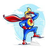 Brave superhero man in costume with red Royalty Free Stock Image