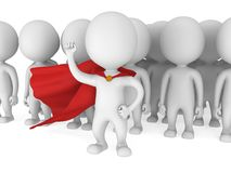 Brave superhero with red cloak before a crowd Royalty Free Stock Photos