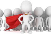Brave superhero with red cloak before a crowd Stock Photography