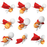 Brave superhero with red cloak delivery Easter Egg. Royalty Free Stock Images