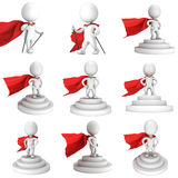 Brave superhero with red cloak stand on round stage podium. For award ceremony. 3D render illustration set pedestal isolated on white background Royalty Free Stock Photo