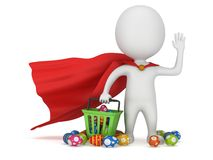 Brave superhero shopper with Easter Eggs Stock Images