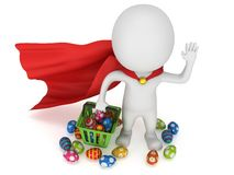 Brave superhero shopper with Easter Eggs Royalty Free Stock Photography