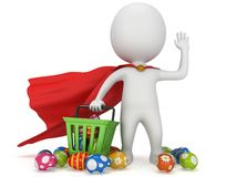 Brave superhero shopper with Easter Eggs Stock Photo