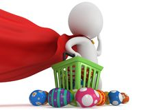 Brave superhero shopper with Easter Eggs Royalty Free Stock Image