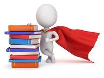 Brave superhero student with red cloak Royalty Free Stock Photography