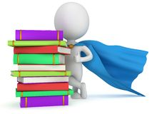 Brave superhero teacher with blue cloak. And colored books. Isolated on white 3d man. Learn, school, wisdom concept Royalty Free Stock Photo