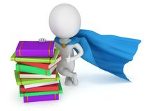 Brave superhero teacher with blue cloak. And colored books. Isolated on white 3d man. Learn, school, wisdom concept Royalty Free Stock Image