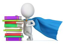 Brave superhero teacher with blue cloak. And colored books. Isolated on white 3d man. Learn, school, wisdom concept Stock Photography