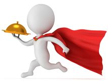 Brave superhero waiter with gold tray Royalty Free Stock Images
