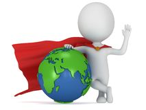 Brave superhero and world sphere Stock Photos