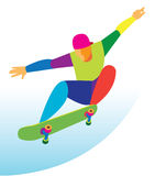 Brave teenager jumping on a skateboard Royalty Free Stock Image