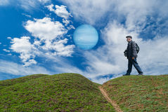 Brave tourist on a desolate planet Stock Photography