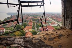 Brave town - Vukovar. Brave town Vukovar in Croatia. View from destroyed water tower stock photos