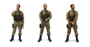 Brave us soldier white background Stock Photos