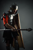 Brave warrior in armor with a shield and a spear Stock Images