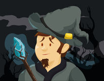 Brave Wizard with a Magic Wand in a Spooky Forest, Vector Illustration Stock Photos