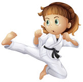 A brave young girl doing karate. Illustration of a brave young girl doing karate on a white background Stock Image