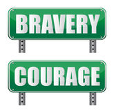 Bravery & Courage road sign. Bravery & Courage road sign on white Royalty Free Stock Photo