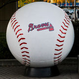 Braves baseball. A large baseball with the Atlanta Braves logo outside the entrance to Turner Field. 2016 Royalty Free Stock Photography