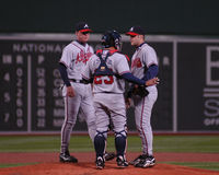 Braves meet on the mound. Stock Images