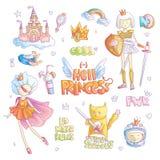 Bravez l'ensemble de bande dessinée de vecteur de princesse d'enfer de garçon manqué Magie de princesse et illustration du fémini illustration stock