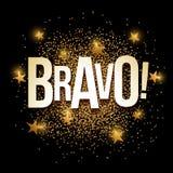 Bravo golden glitter background banner. Royalty Free Stock Photography