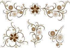 Brawn flower pattern Royalty Free Stock Image
