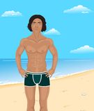 Brawny man on beach Royalty Free Stock Photos