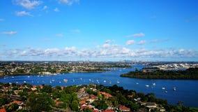 Brays Bay @ Rhodes Sydney. Parramatta River and Sydney city landscape water view of Brays Bay in Rhodes, Sydney NSW  Australia aerial Stock Photo