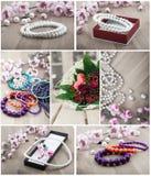 Brazaletes coralinos del multicolor y perlas artificiales Imágenes de archivo libres de regalías