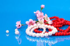 Brazaletes de las perlas y granos rojos Imagenes de archivo