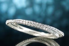 Brazaletes del diamante del platino Imagen de archivo