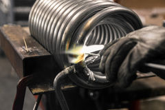 Braze welding process. Royalty Free Stock Image