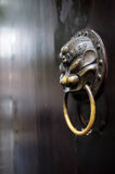 Brazen door knocker,China. The brass knocker in Chinese ancient style on a door leaf Stock Photography