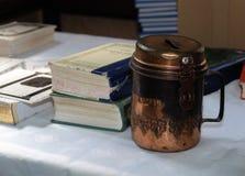 Brazen jewish Donation box. Brazen used donation box in synagogue Stock Photo