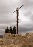 The Brazen Serpent. The sculpture of the Brazen Serpent of Moses on Mount Nebo in Jordan Royalty Free Stock Images