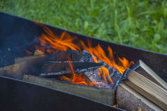 Brazier with burning coals Stock Photo