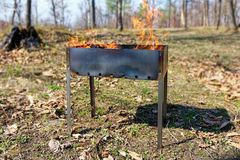 Brazier with burning firewood in a forest glade stock photo