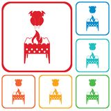 Brazier and chicken icon Royalty Free Stock Photo