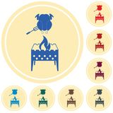 Brazier and chicken icon. Vector illustration Stock Images