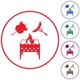 Brazier, chicken and sausage icon Stock Photos