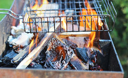 Brazier with fire. Barbecue brazier with fire outdoor Royalty Free Stock Photography