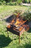 Brazier in fire stock photos