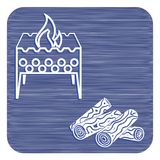 Brazier and firewood icon. Vector illustration Stock Images