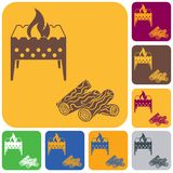 Brazier and firewood icon. Vector illustration Royalty Free Stock Image