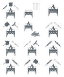 Brazier and firewood icon. Brazier cooking icons set. Vector illustration Royalty Free Stock Photo
